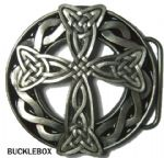 VIKING / CELTIC CROSS (BLACK) Belt Buckle + display stand
